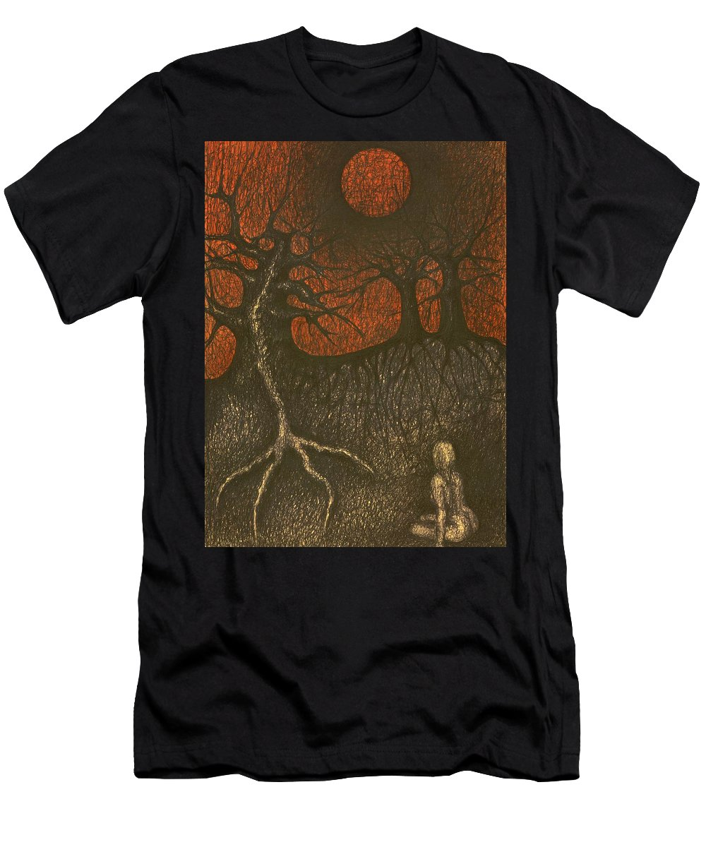Colour Men's T-Shirt (Athletic Fit) featuring the drawing I In Night Think About You by Wojtek Kowalski