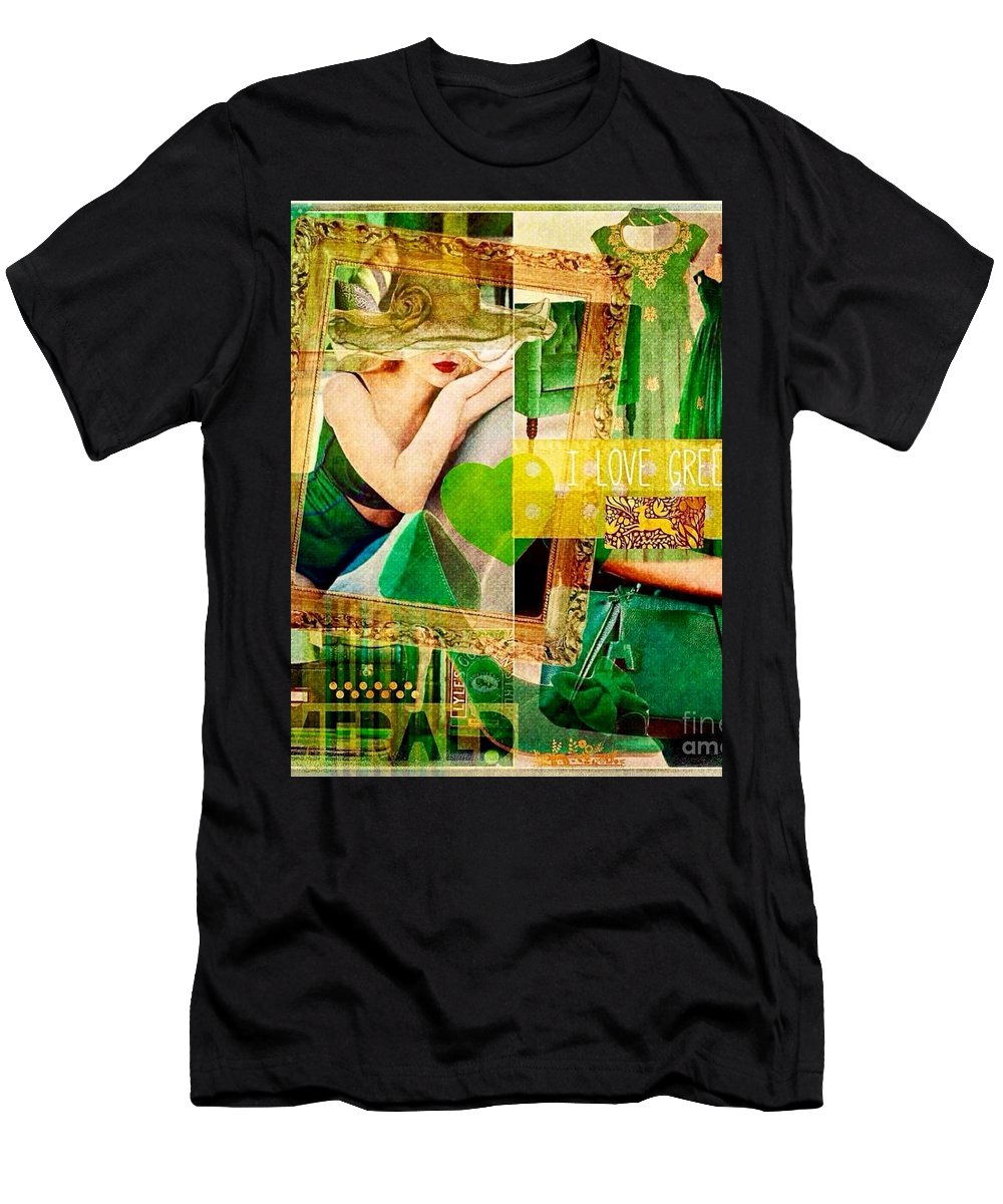 Men's T-Shirt (Athletic Fit) featuring the digital art I Love Green by Nidigicrea Collages