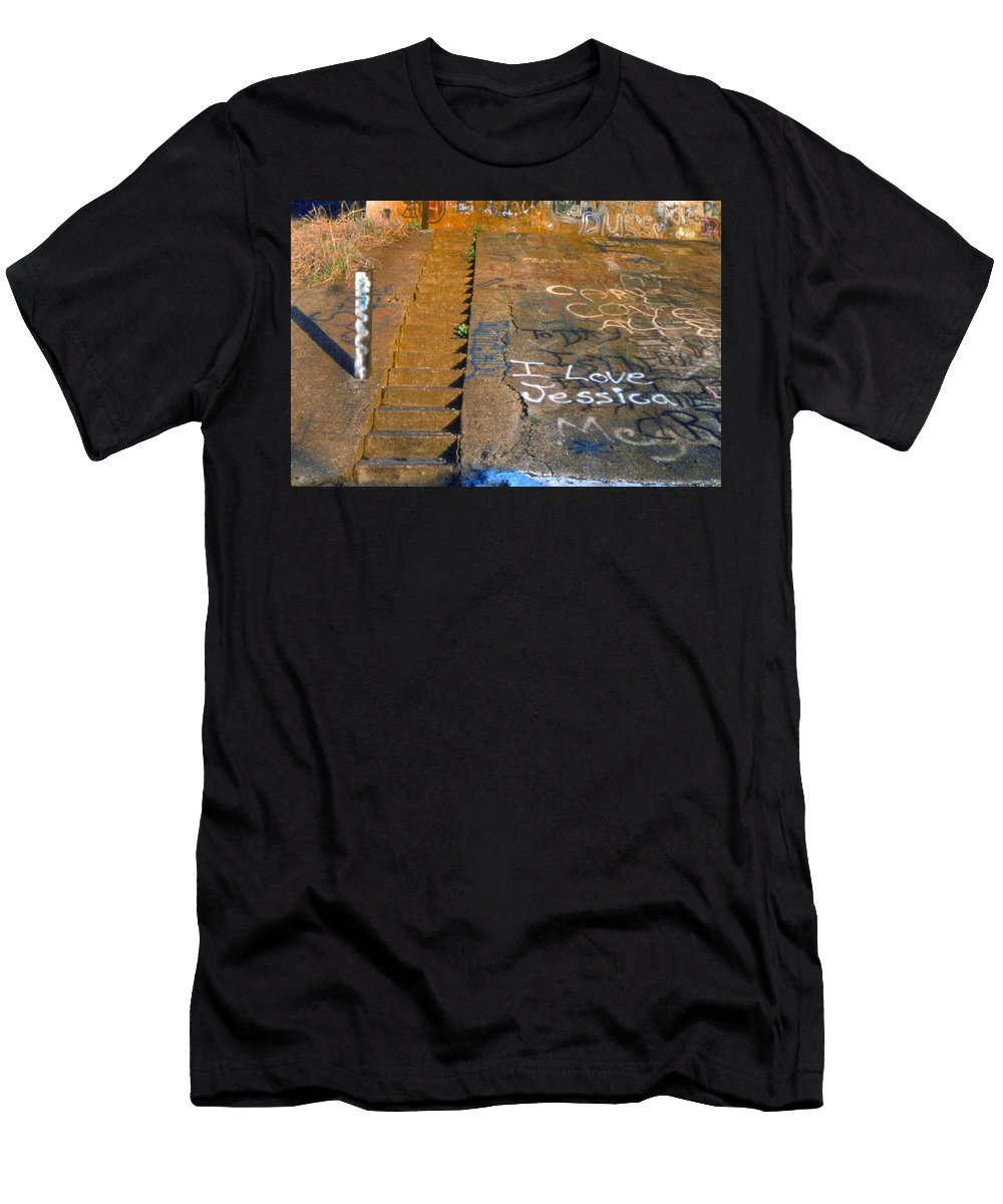 Love Note Men's T-Shirt (Athletic Fit) featuring the photograph I Love Jessica by D'Arcy Evans