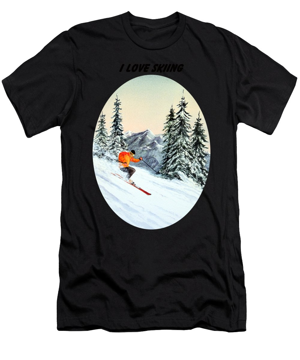 I Love Skiing T-Shirt featuring the painting I Love Skiing by Bill Holkham
