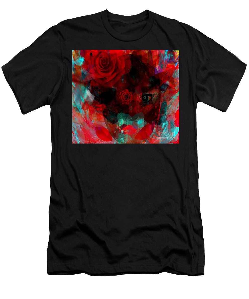 Fanou Men's T-Shirt (Athletic Fit) featuring the digital art I Named You Rose by Fania Simon