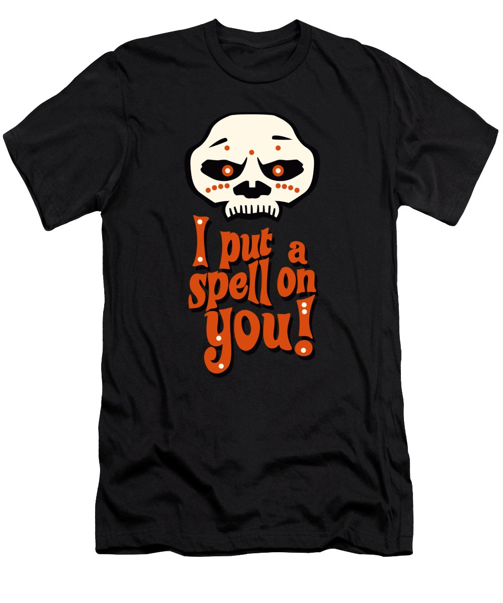 I Put A Spell On You Men's T-Shirt (Athletic Fit) featuring the digital art I Put A Spell On You Voodoo Retro Poster by Monkey Crisis On Mars