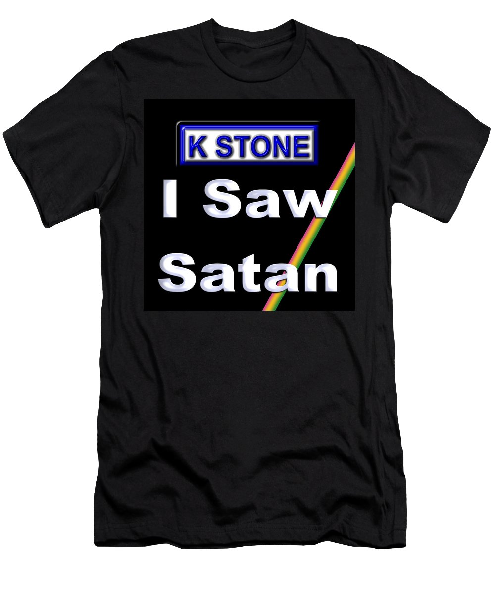 I Saw Satan Men's T-Shirt (Athletic Fit) featuring the digital art I Saw Satan by K STONE UK Music Producer