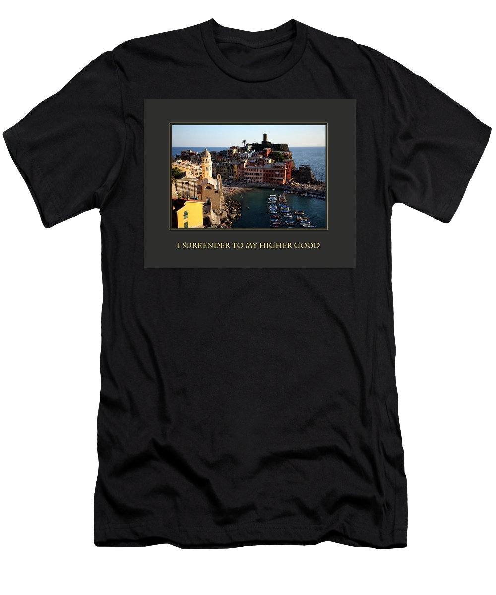 Motivational Poster Men's T-Shirt (Athletic Fit) featuring the photograph I Surrender To My Higher Good by Donna Corless
