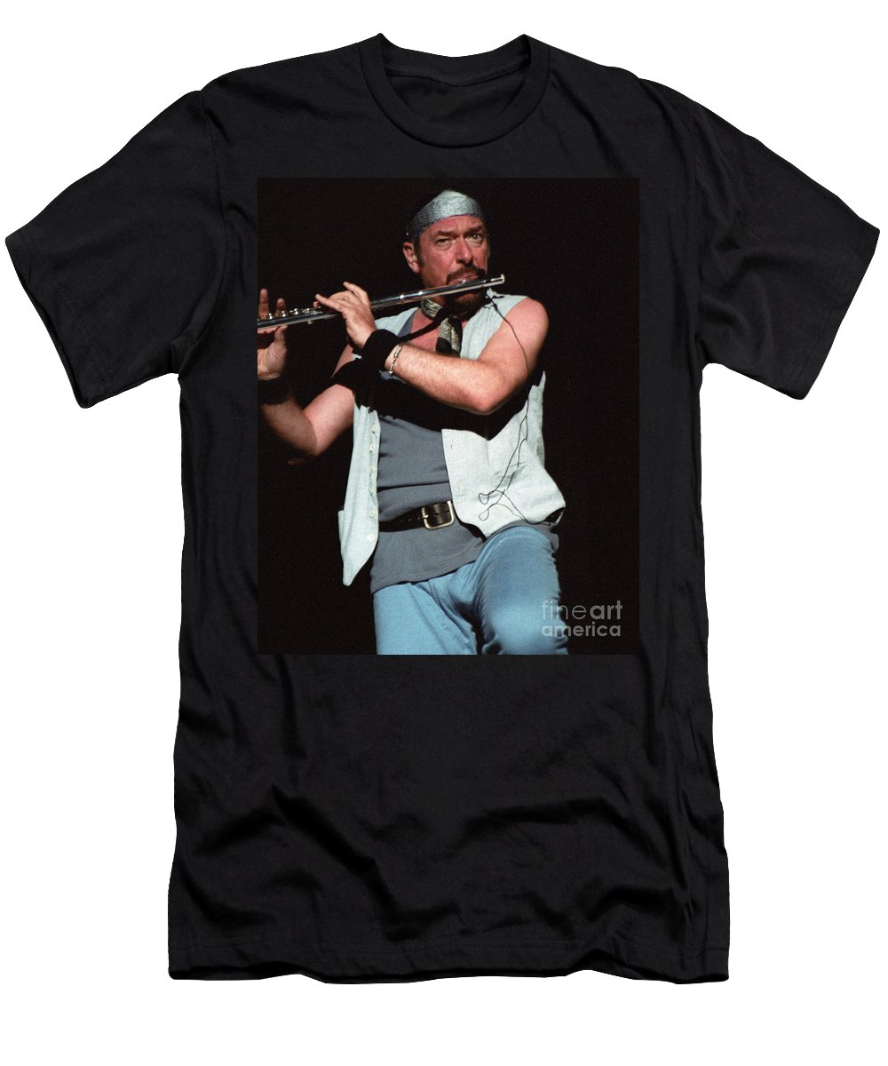 Jethro Tull Ian Anderson Aqualung Live Photography Concert Jones Beach Ny Bloomrosen T-shirt Shower Curtain Print Duvet Cover Pouch Battery Charger Tote Beach Blanket Men's T-Shirt (Athletic Fit) featuring the photograph Ian Anderson Of Jethro Tull by J Bloomrosen