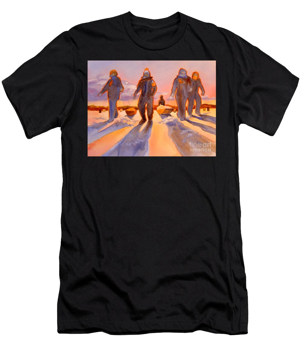 Paintings Men's T-Shirt (Athletic Fit) featuring the painting Ice Men Come Home by Kathy Braud