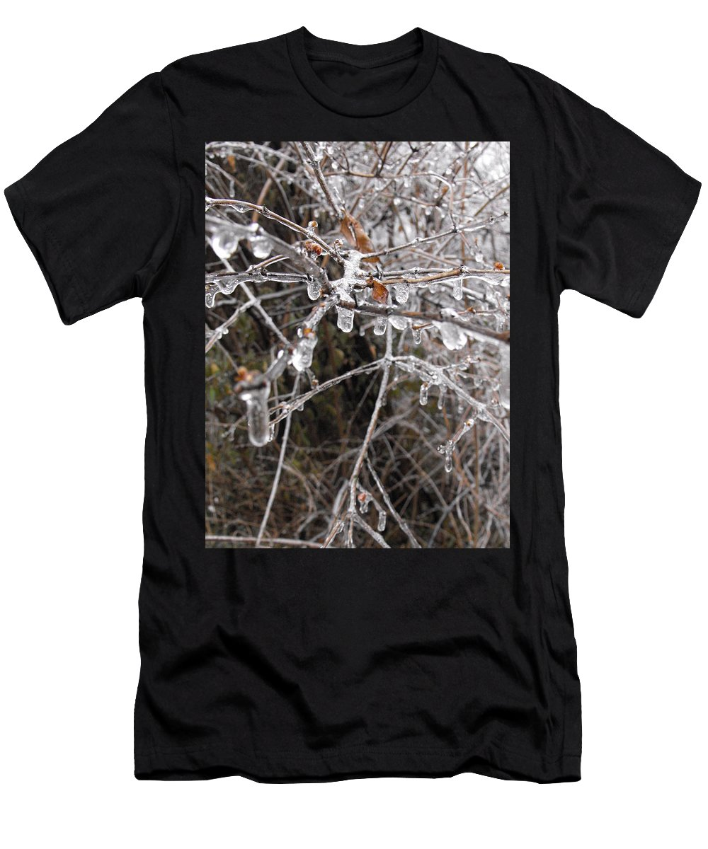 Icy Men's T-Shirt (Athletic Fit) featuring the photograph Ice Pearls by Ginger Repke