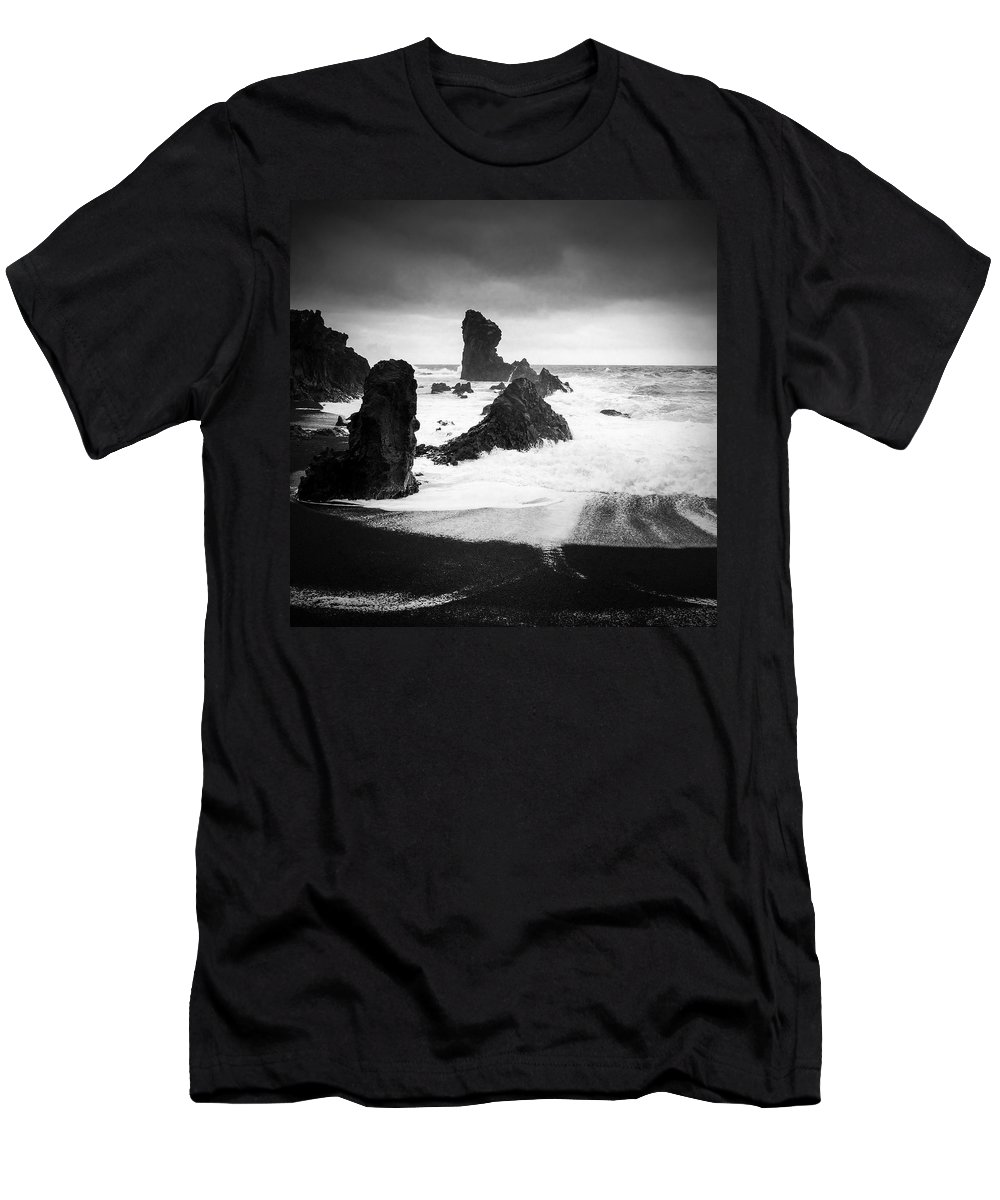 Iceland T-Shirt featuring the photograph Iceland Dritvik beach and cliffs dramatic black and white by Matthias Hauser