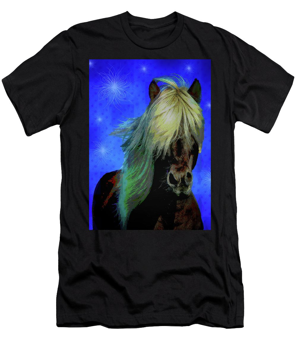 Horse Men's T-Shirt (Athletic Fit) featuring the digital art Icelandic Horse by Mimulux patricia No