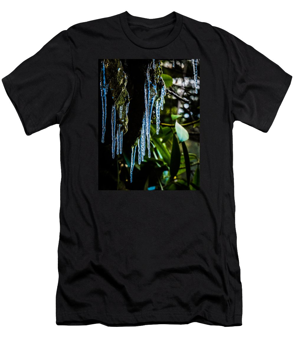 Icicles Men's T-Shirt (Athletic Fit) featuring the photograph Icicles 3 by Dan Ketelsen