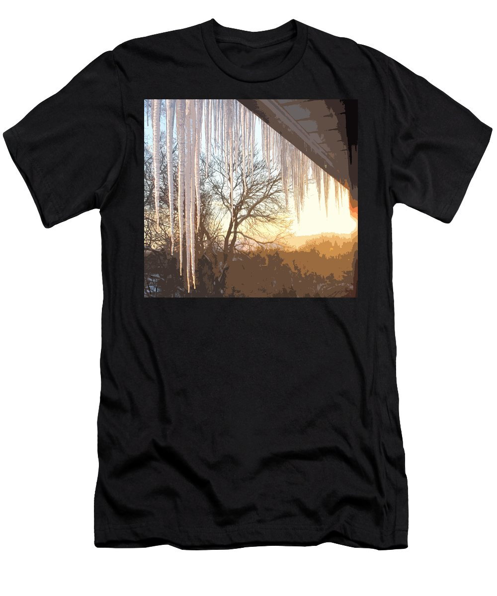 Icicles Men's T-Shirt (Athletic Fit) featuring the photograph Icicles One by Ian MacDonald