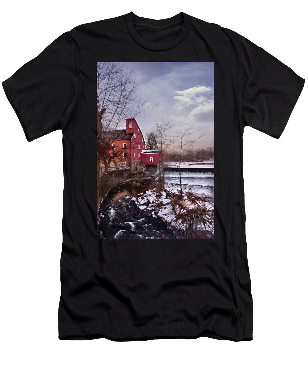 Waterfall Men's T-Shirt (Athletic Fit) featuring the photograph Icy Falls by Ryan Crane