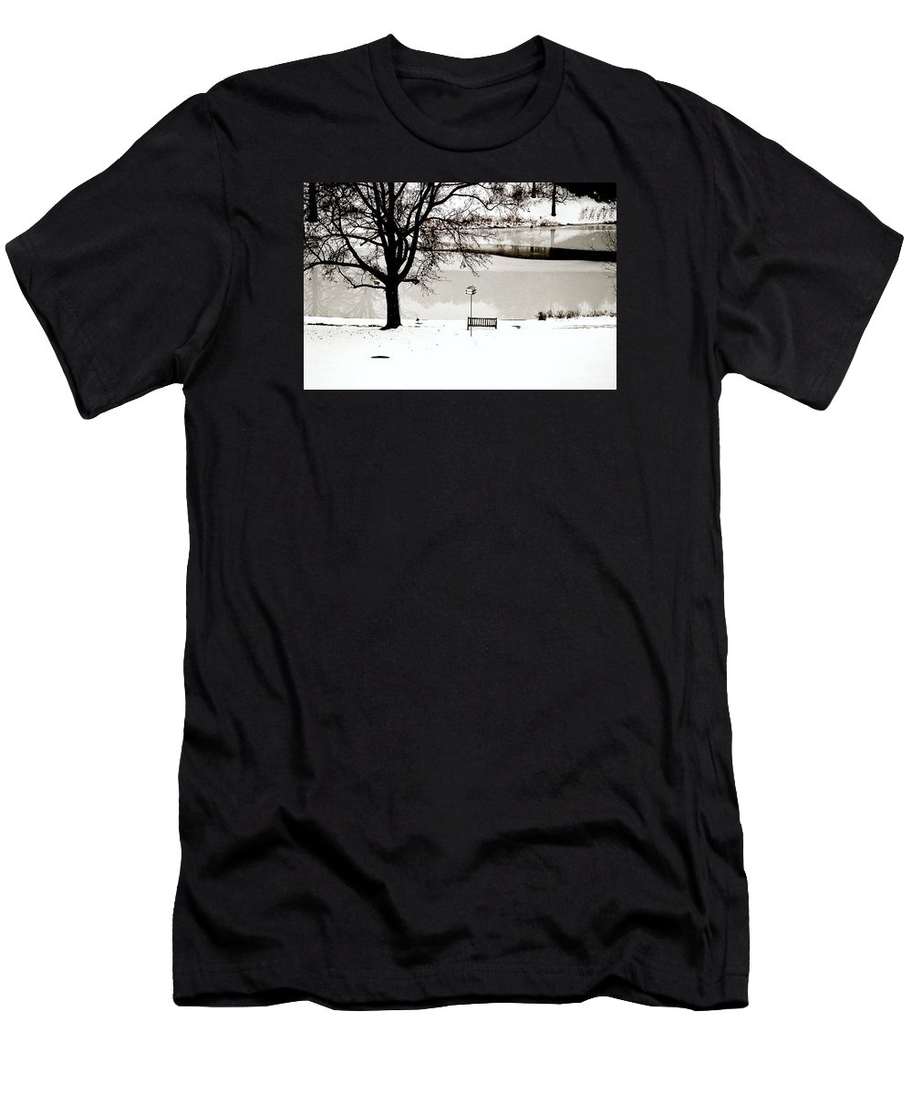 Ice Men's T-Shirt (Athletic Fit) featuring the photograph Icy Pond by Elizabeth Andrews
