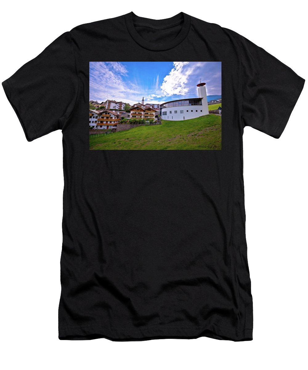 Kastelruth Men's T-Shirt (Athletic Fit) featuring the photograph Idyllic Alpine Town Of Kastelruth On Green Hill View by Brch Photography