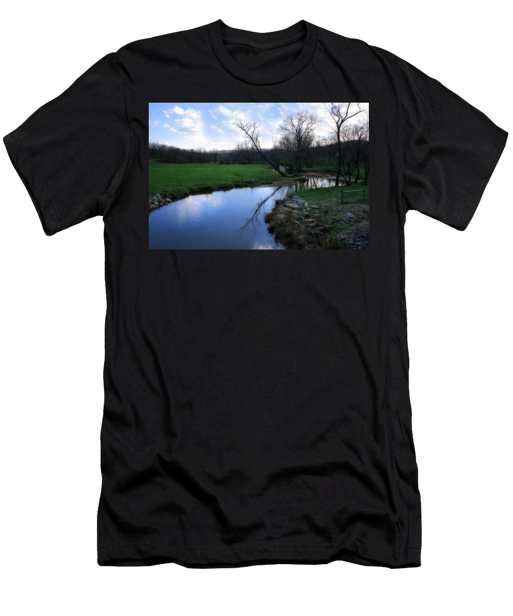 Landscape Men's T-Shirt (Athletic Fit) featuring the photograph Idyllic Creek by Angela Rath