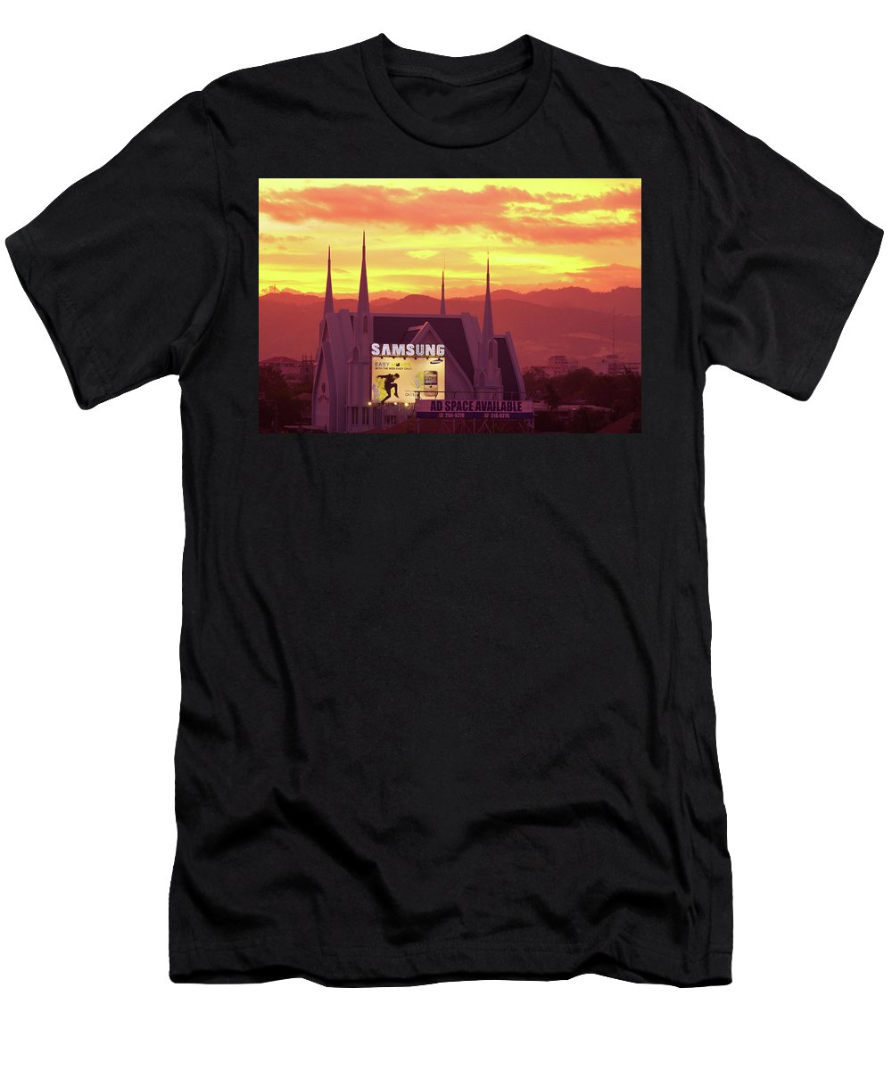 Insogna Men's T-Shirt (Athletic Fit) featuring the photograph Iglesia Ni Cristo Sunset Cebu City Philippines by James BO Insogna