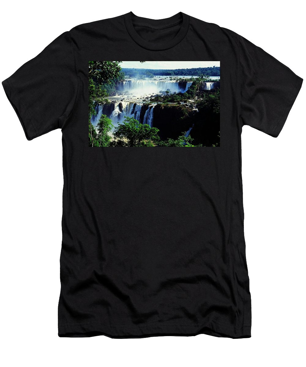 South America Men's T-Shirt (Athletic Fit) featuring the photograph Iguacu Waterfalls by Juergen Weiss