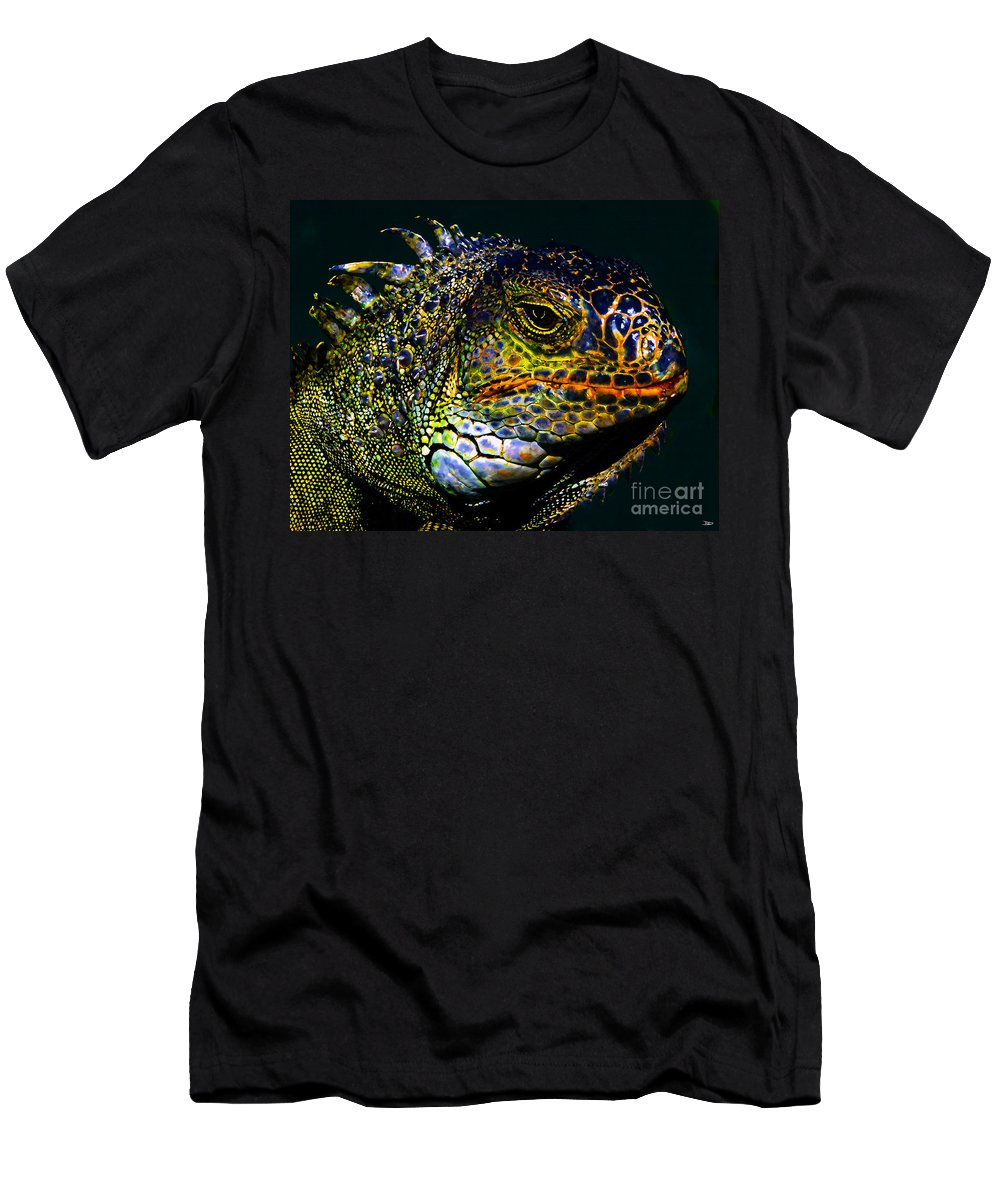 Art Men's T-Shirt (Athletic Fit) featuring the painting Iguana by David Lee Thompson