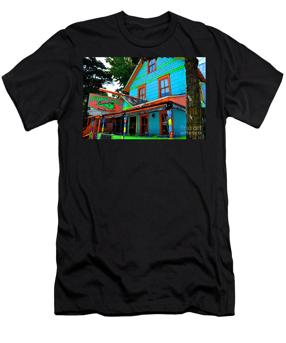 Rehoboth Men's T-Shirt (Athletic Fit) featuring the painting Iguana Grill by Jost Houk