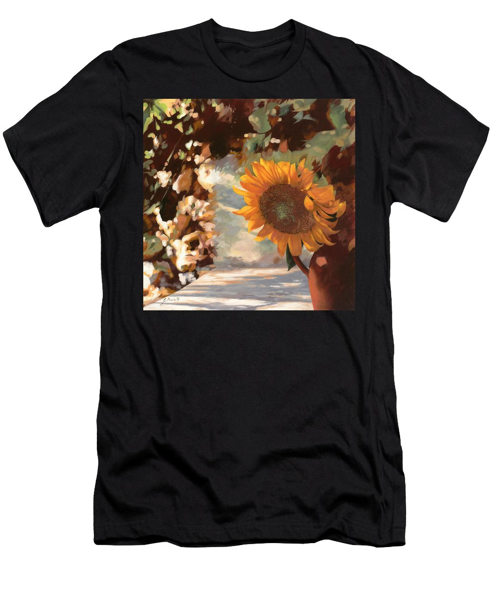 Sunflower.sunflowers Field Men's T-Shirt (Athletic Fit) featuring the painting Il Girasole by Guido Borelli