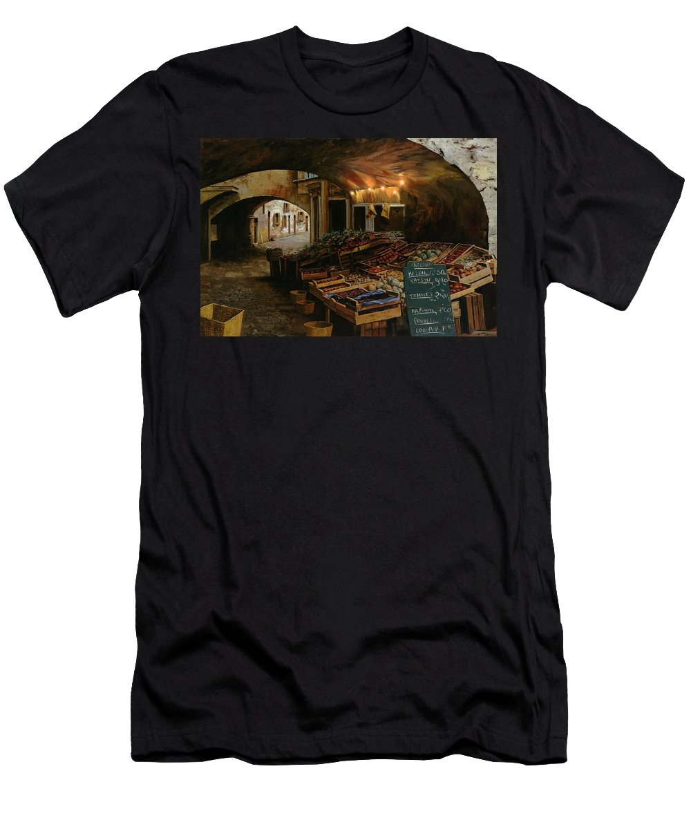 Market Men's T-Shirt (Athletic Fit) featuring the painting Il Mercato Francese by Guido Borelli