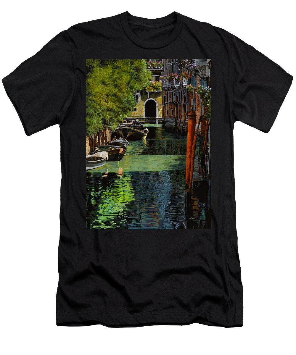 Venice Men's T-Shirt (Athletic Fit) featuring the painting il palo rosso a Venezia by Guido Borelli
