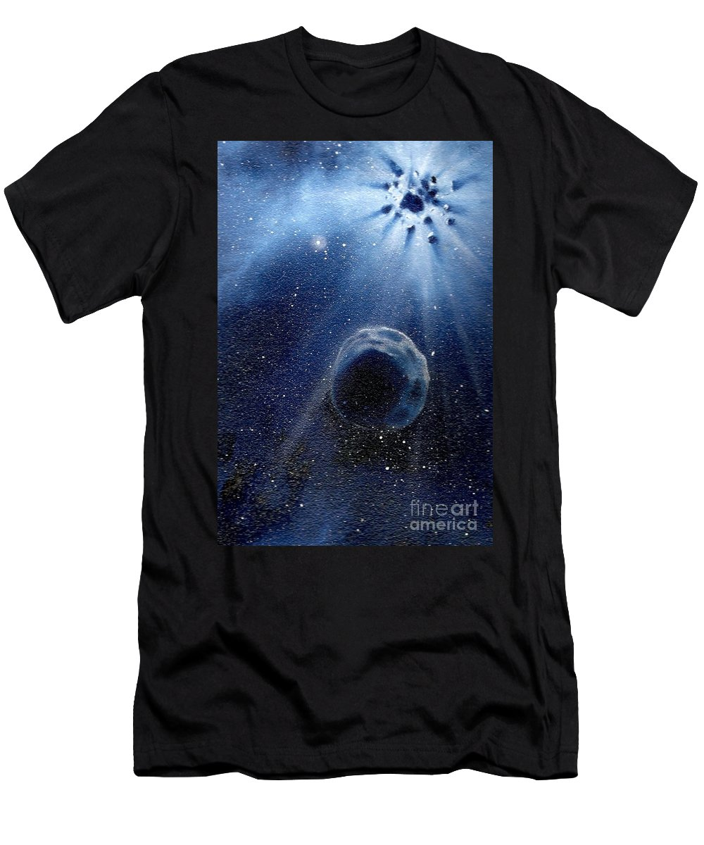 Outerspace Men's T-Shirt (Athletic Fit) featuring the painting Impressive Impact by Murphy Elliott