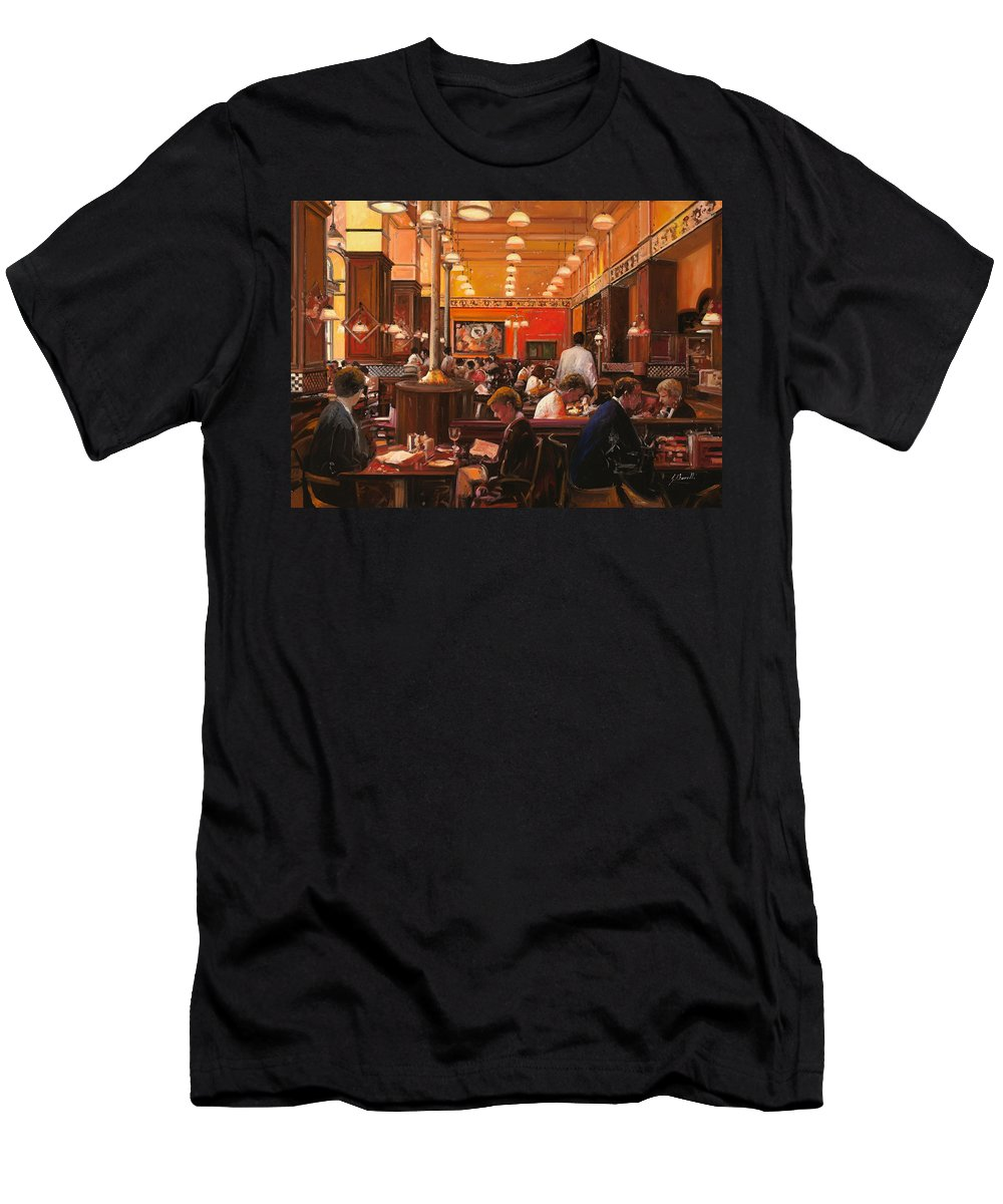 Coffee Shop Men's T-Shirt (Athletic Fit) featuring the painting In Birreria by Guido Borelli