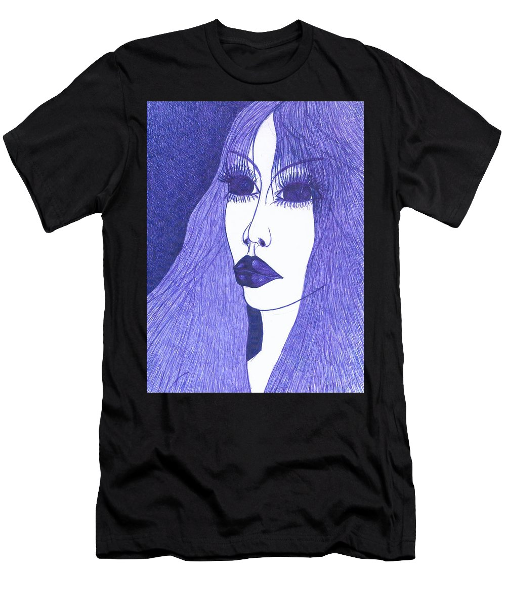 Psychedelic Men's T-Shirt (Athletic Fit) featuring the drawing In Blue Colour by Wojtek Kowalski