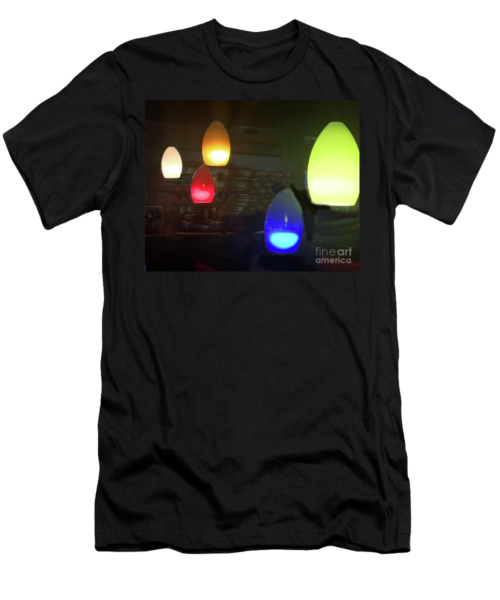 Pendant Lights Men's T-Shirt (Athletic Fit) featuring the photograph In Here It's Always Friday by Rick Locke