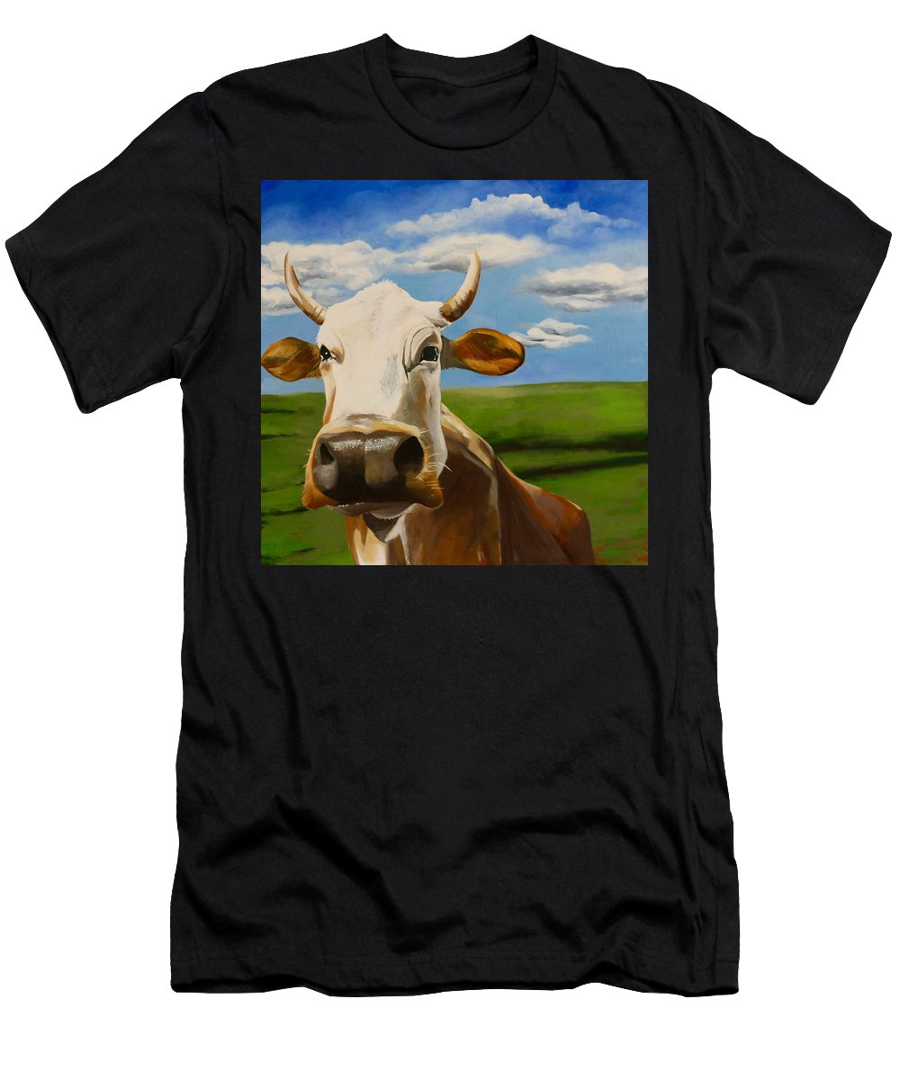 Cow Men's T-Shirt (Athletic Fit) featuring the painting In Pasture by Lori A Johnson