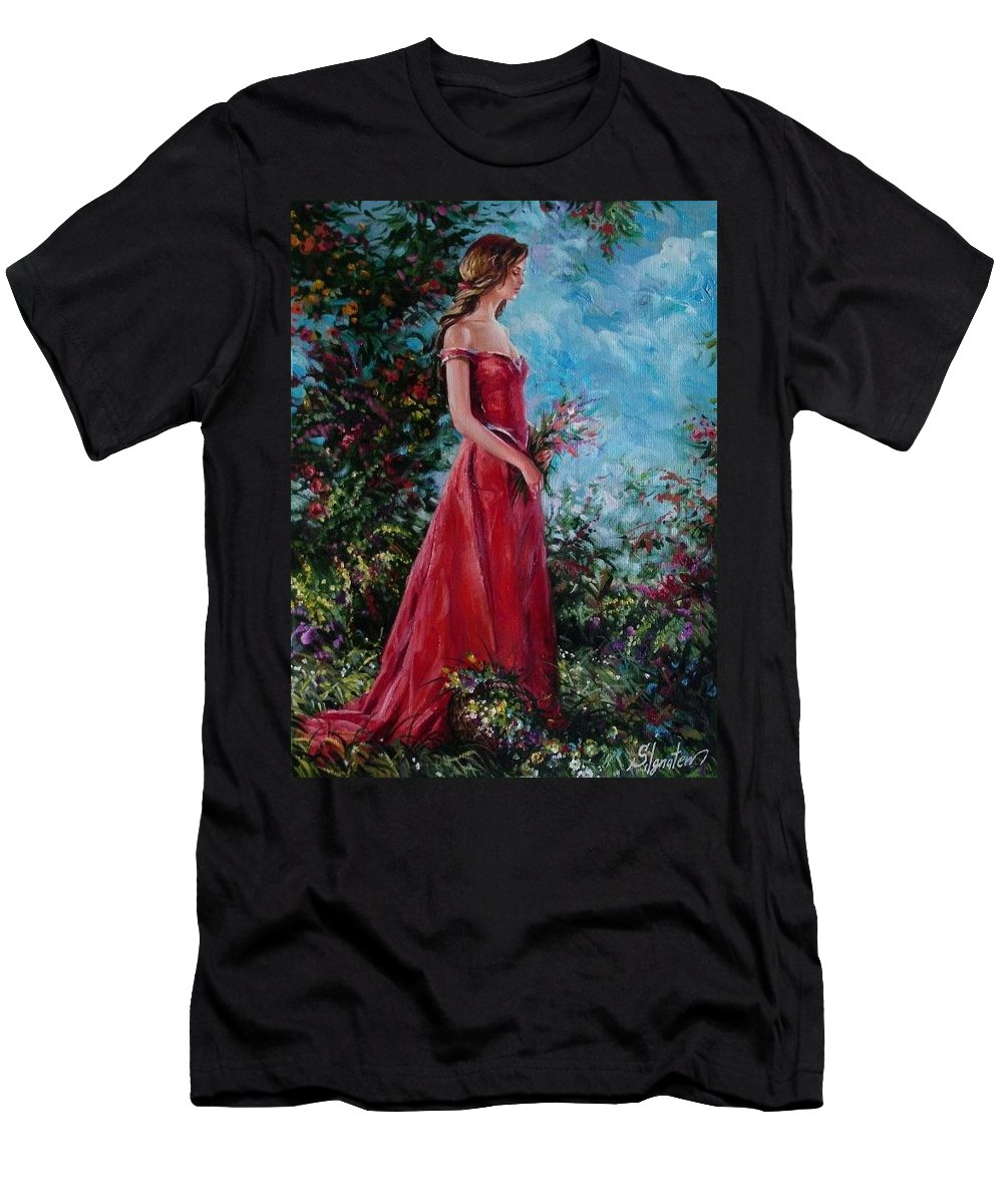 Figurative Men's T-Shirt (Athletic Fit) featuring the painting In Summer Garden by Sergey Ignatenko