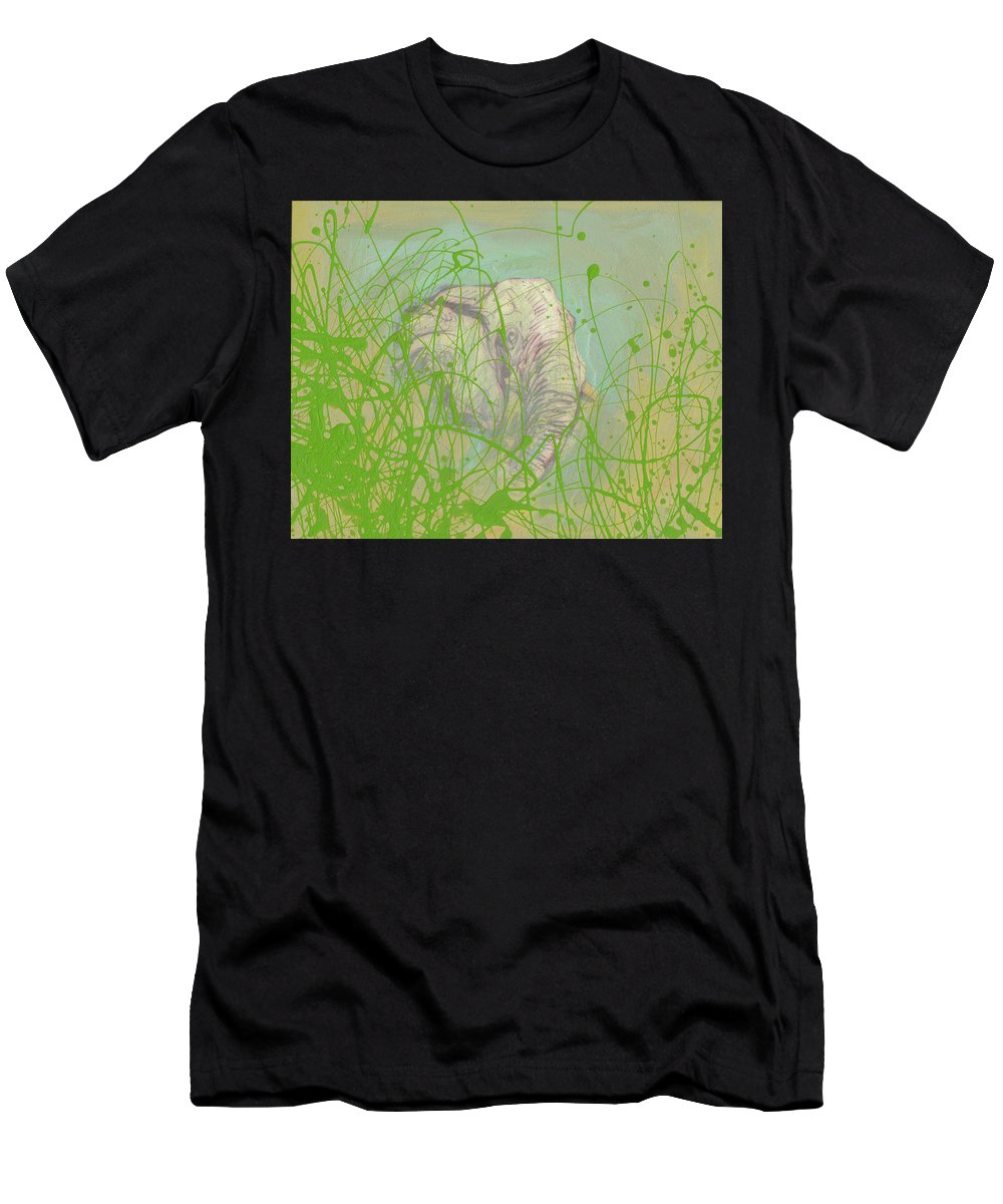 Fish Men's T-Shirt (Athletic Fit) featuring the mixed media In The Brush by Sam Arneson