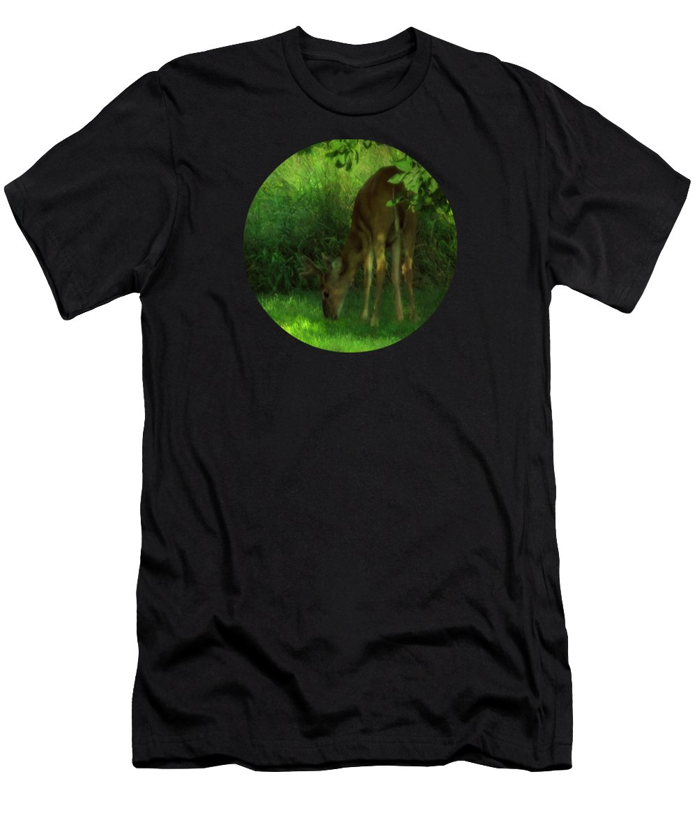 Deer T-Shirt featuring the photograph In The Dappled Light by Mary Wolf