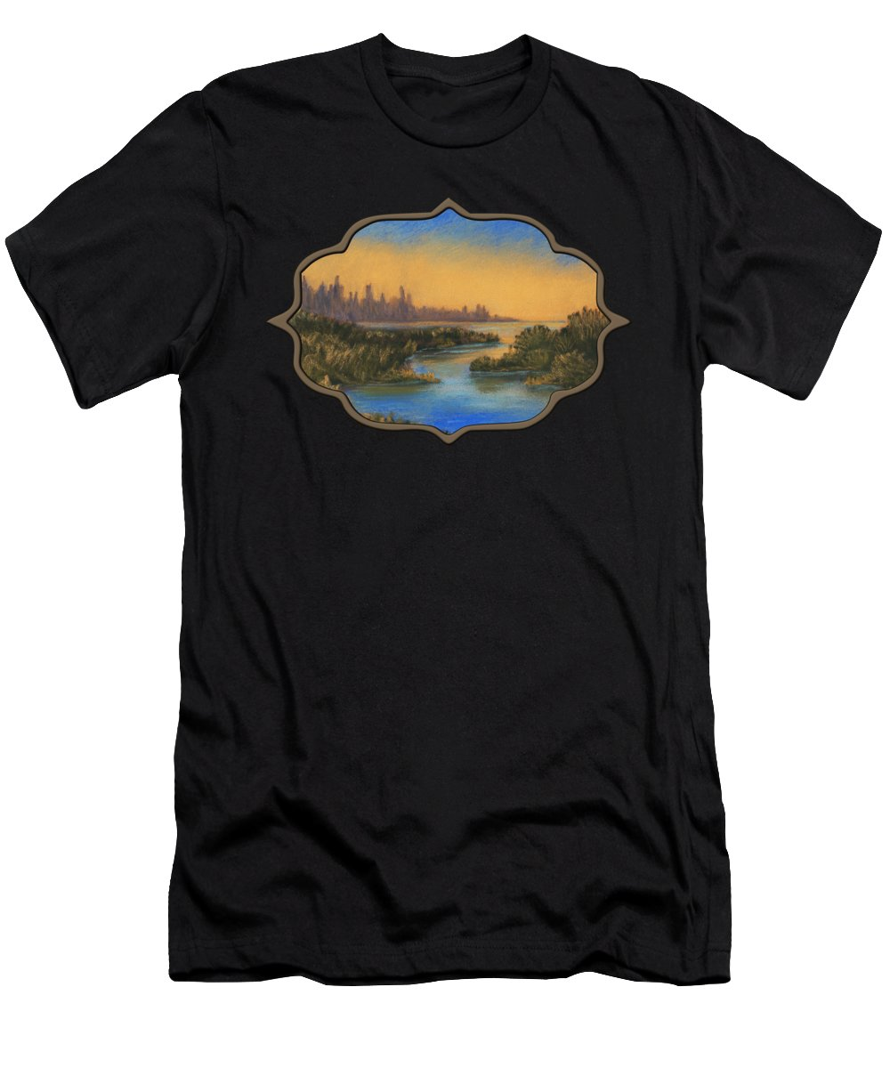 Landscape Men's T-Shirt (Athletic Fit) featuring the painting In The Distance by Anastasiya Malakhova