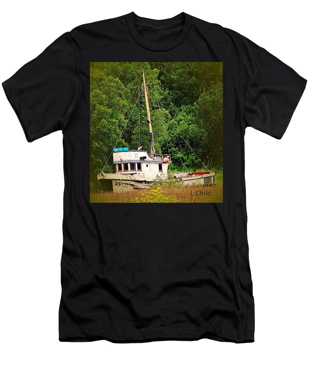 Boats Men's T-Shirt (Athletic Fit) featuring the photograph In The Garden by Lori Mahaffey