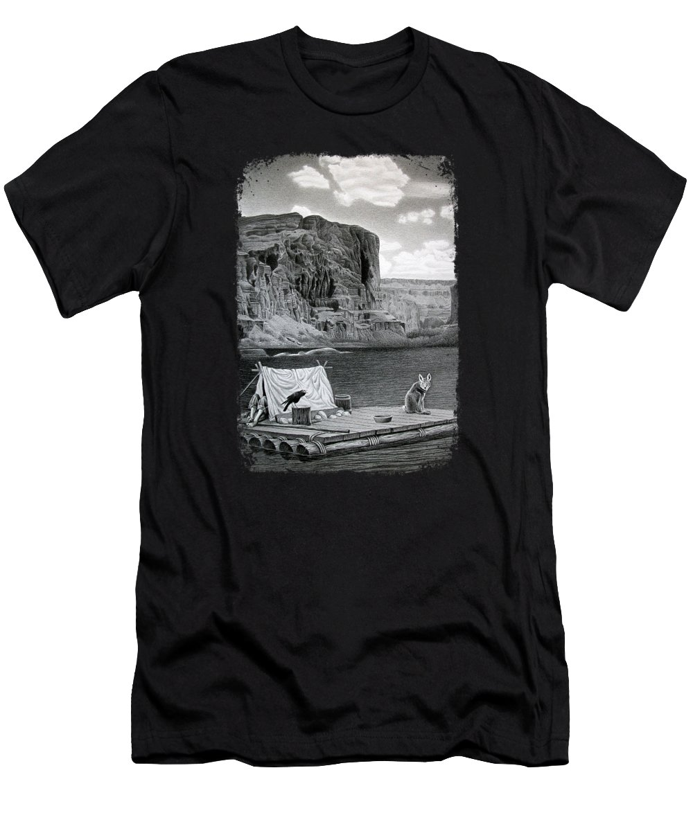Grand Canyon T-Shirt featuring the drawing In The Grand Canyon by Miro Gradinscak