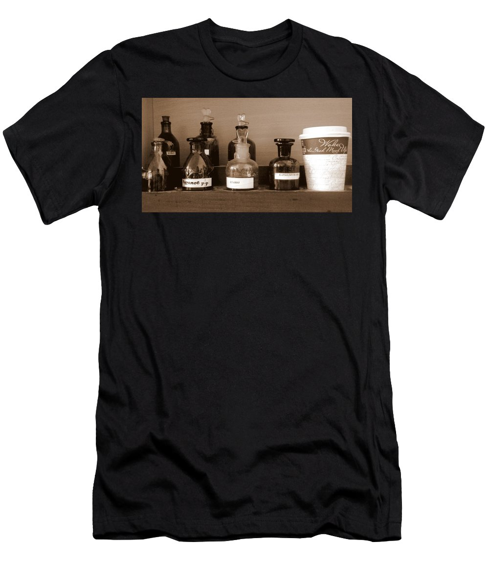 Sepia Men's T-Shirt (Athletic Fit) featuring the photograph In The Lab by Aleksandra Savova