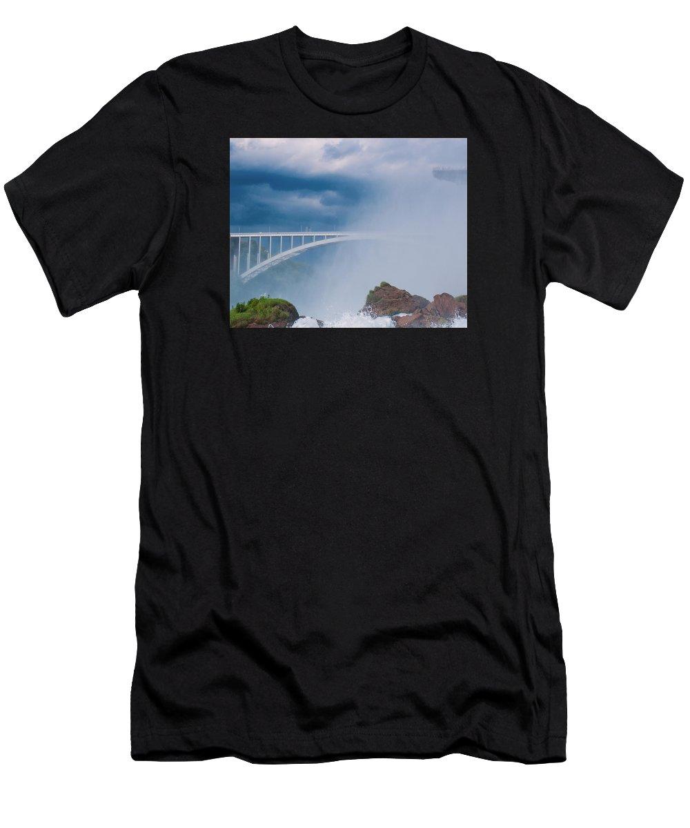 Bridge Men's T-Shirt (Athletic Fit) featuring the photograph In The Mist by Karen Regan