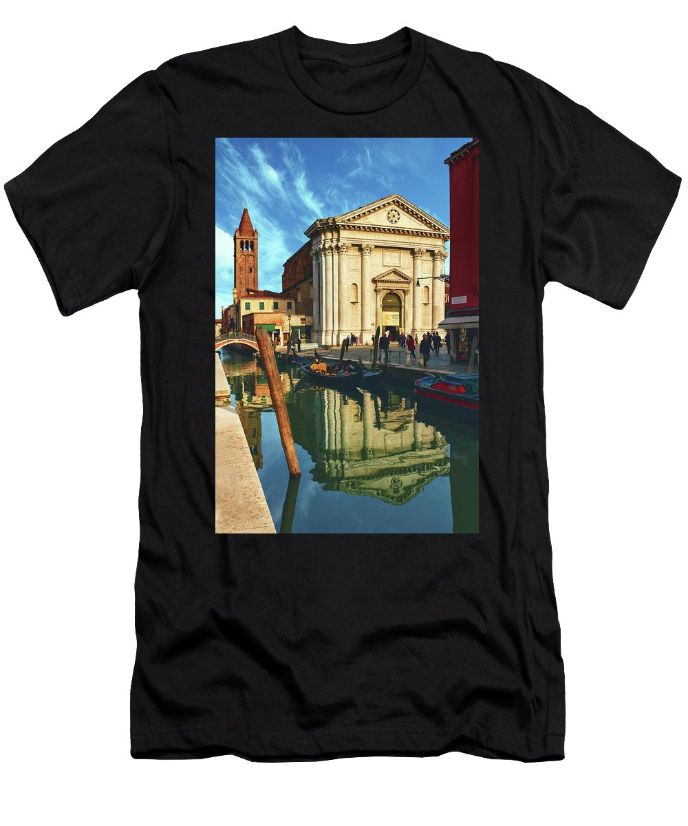 George Westermak Men's T-Shirt (Athletic Fit) featuring the photograph In The Waters Of The Many Venetian Canals Reflected The Majestic Cathedrals, Towers And Bridges by George Westermak