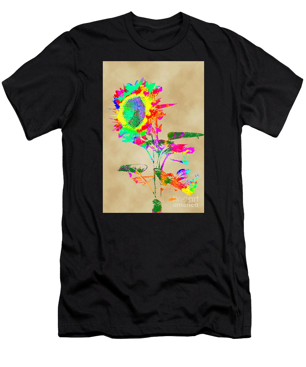 Sunflower Men's T-Shirt (Athletic Fit) featuring the photograph In The Wind by David Millenheft