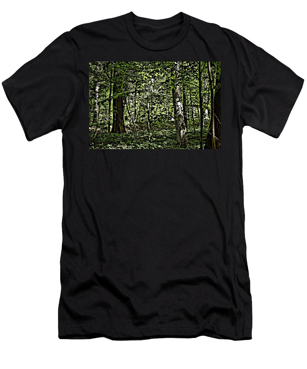 Landscape Men's T-Shirt (Athletic Fit) featuring the photograph In The Woods Wc by David Lane