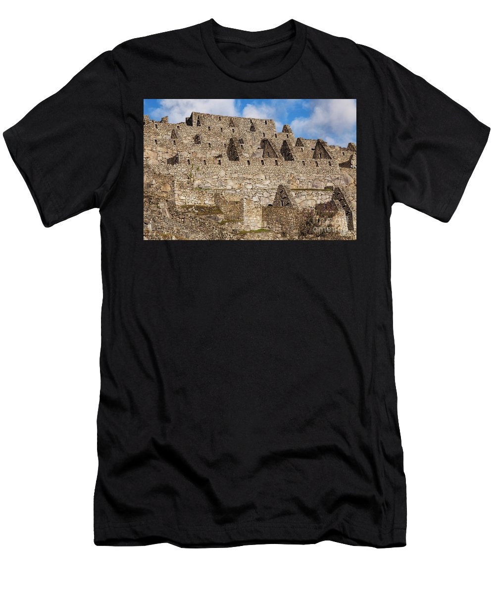 Inca Trail Men's T-Shirt (Athletic Fit) featuring the photograph Inca Stone Ruins by Bob Phillips