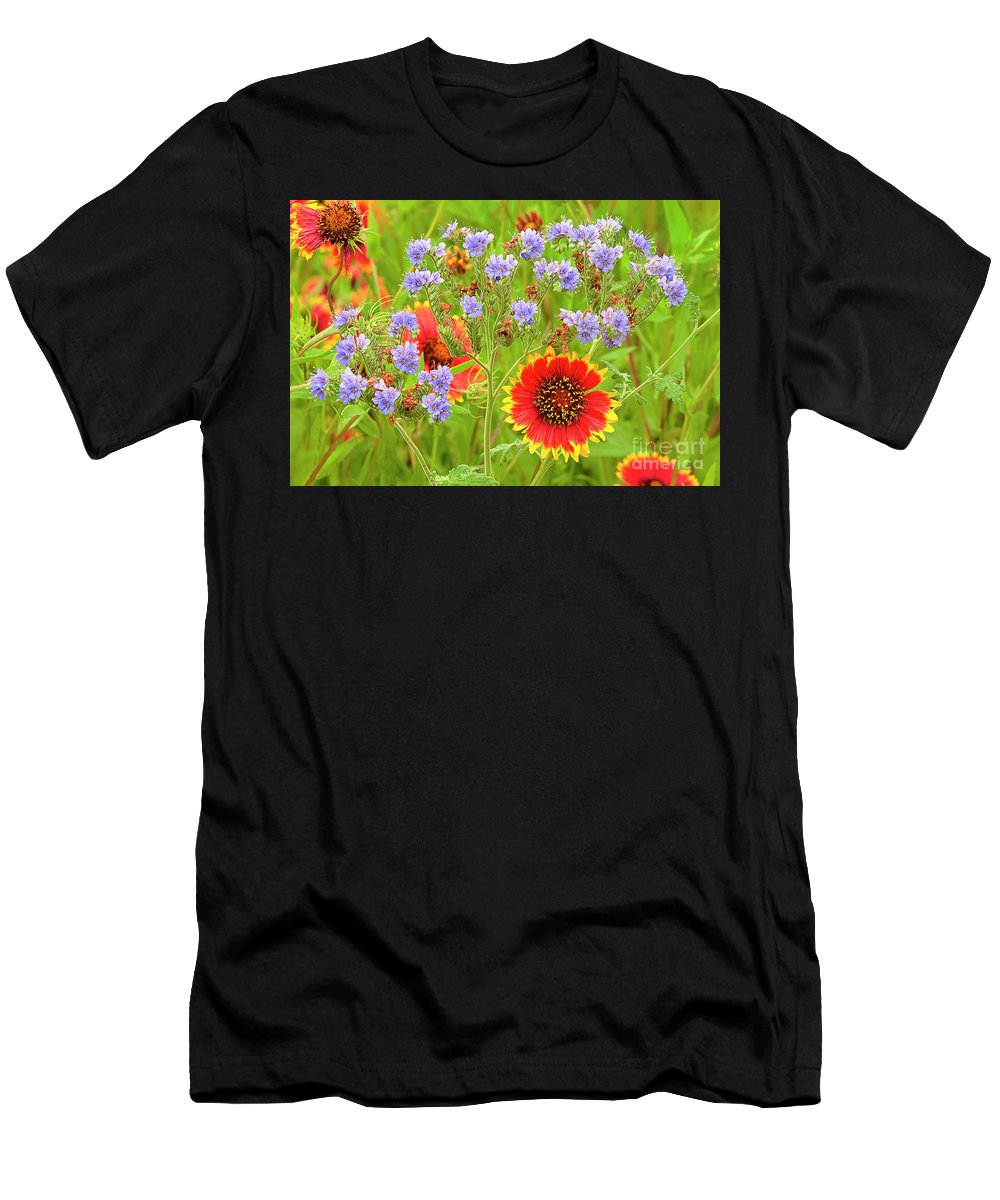 Blanketflowers Men's T-Shirt (Athletic Fit) featuring the photograph Indian Blanketflowers Gaillardia Puchella by Dave Welling