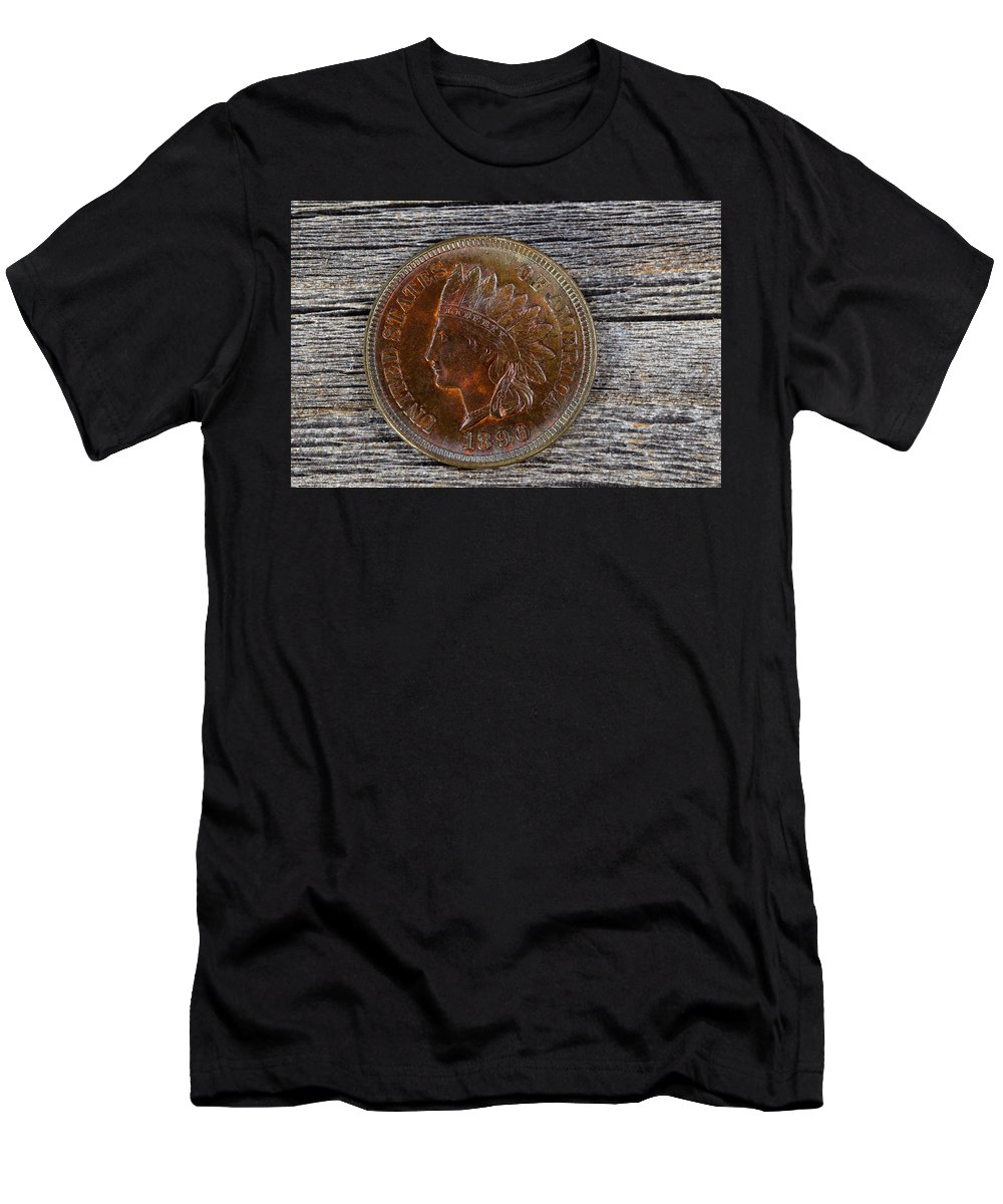 Coin Men's T-Shirt (Athletic Fit) featuring the photograph Indian Head Cent In Uncirculated Condition On Old Wood by Thomas Baker