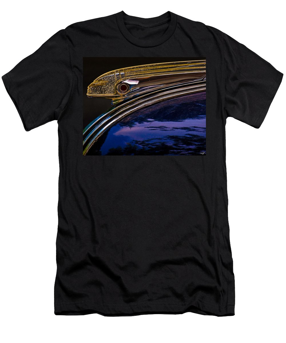 Automobile Men's T-Shirt (Athletic Fit) featuring the photograph Indian Hood Ornament by Chris Lord