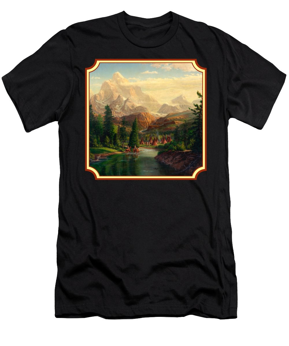 Indians Men's T-Shirt (Athletic Fit) featuring the painting Indian Village Trapper Western Mountain Landscape Oil Painting - Native Americans -square Format by Walt Curlee
