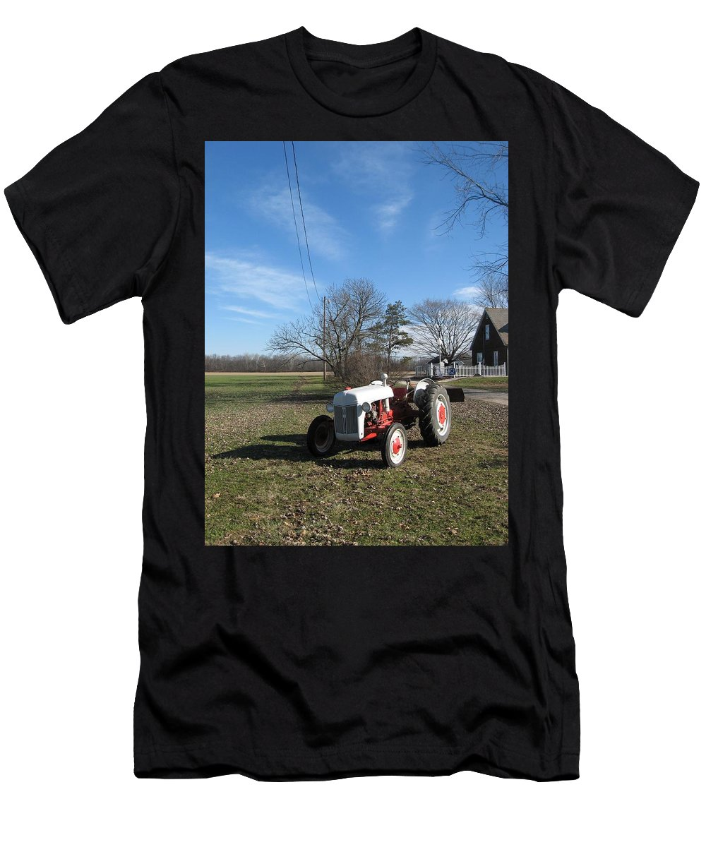 Vintage Ford Tractor Men's T-Shirt (Athletic Fit) featuring the photograph Indiana Hwy 63 South Vintage Ford Tractor Color Version by R John Ferguson