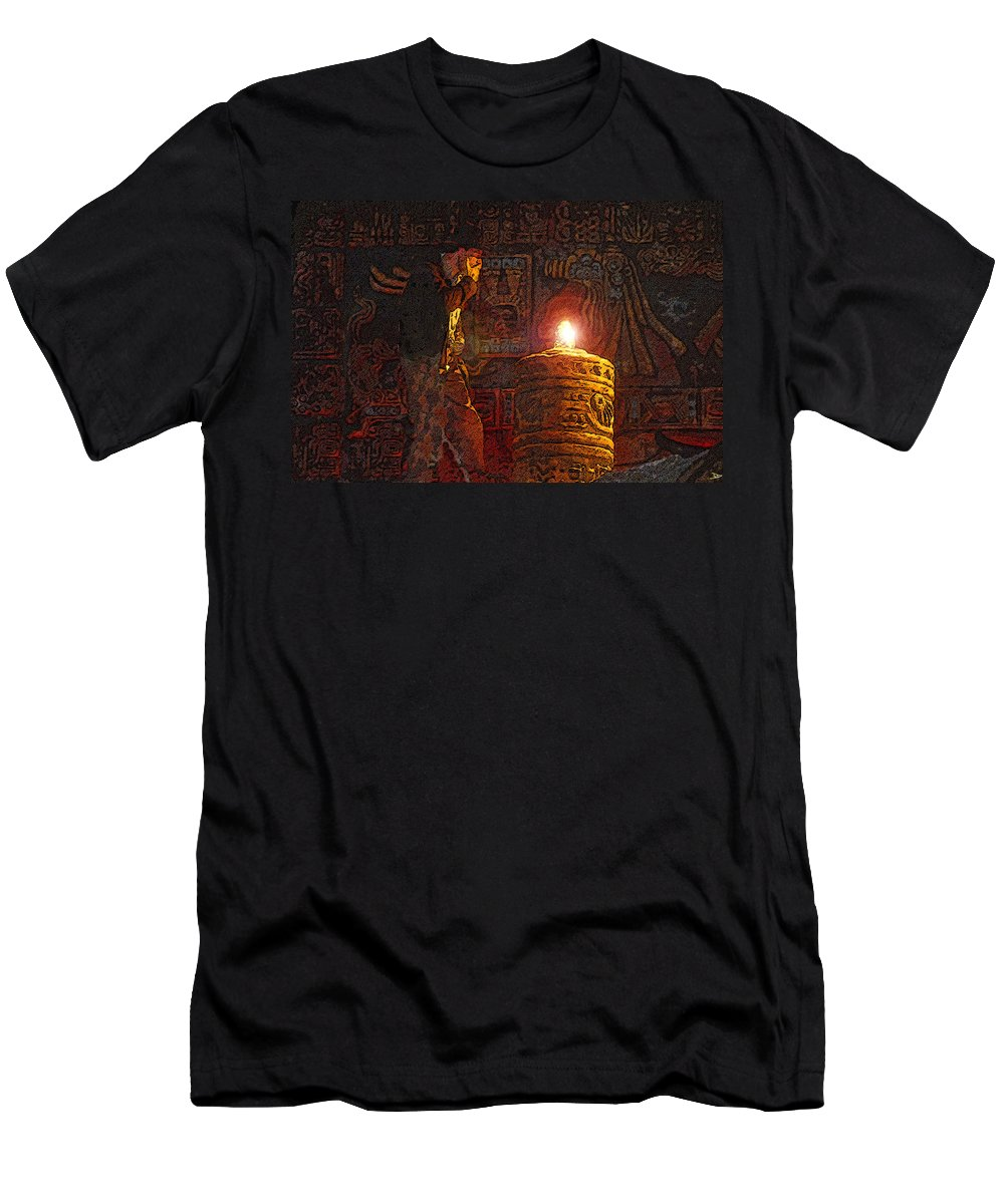 Art Men's T-Shirt (Athletic Fit) featuring the painting Indys Golden Idol by David Lee Thompson