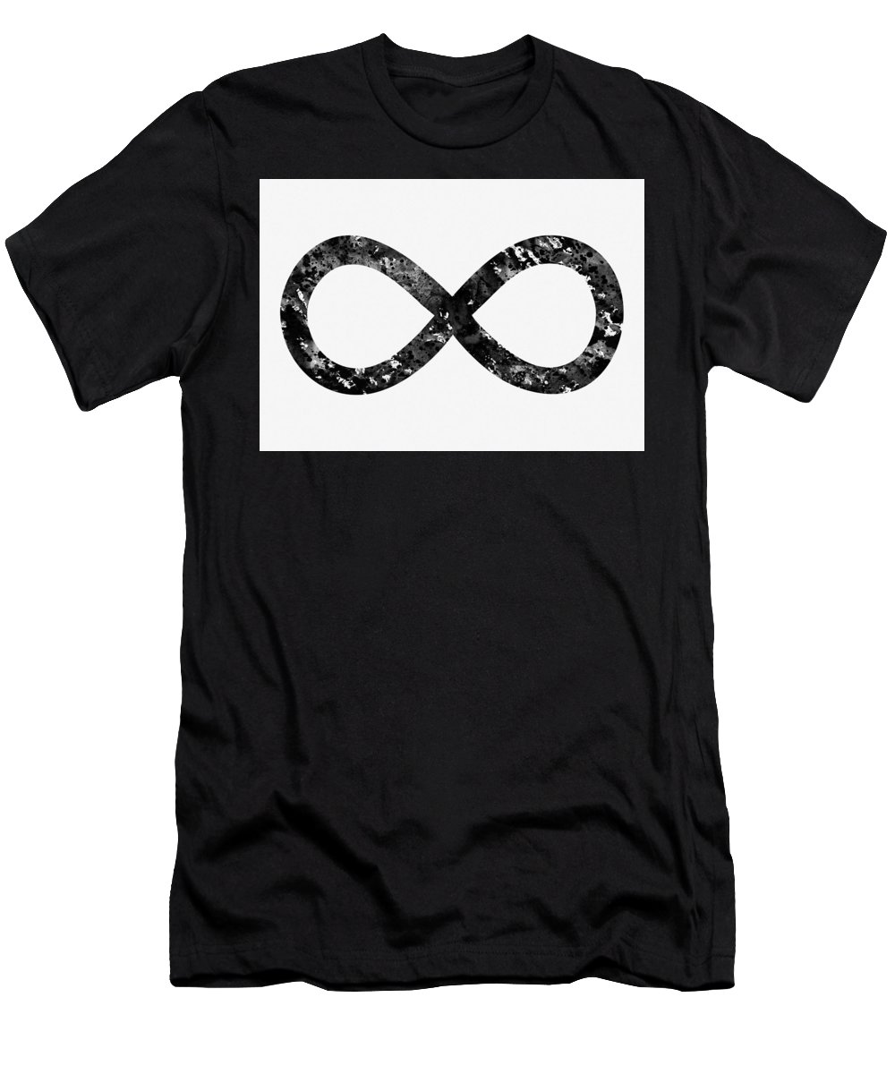 Infinity Symbol Men's T-Shirt (Athletic Fit) featuring the digital art Infinity Symbol-black by Erzebet S